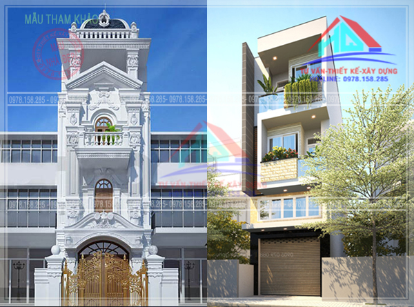 nhà 4 tầng nhà trệt lững 2 lầu mẫu nhà đẹp bia